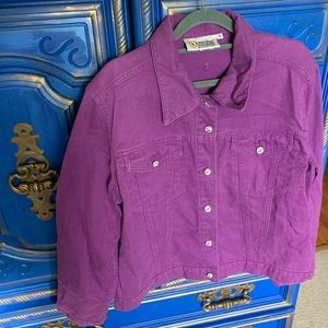 Christine Alexander Purple Denim Jacket Swarovski